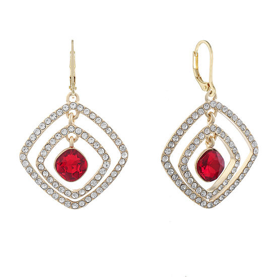 Monet Jewelry Red Square Drop Earrings