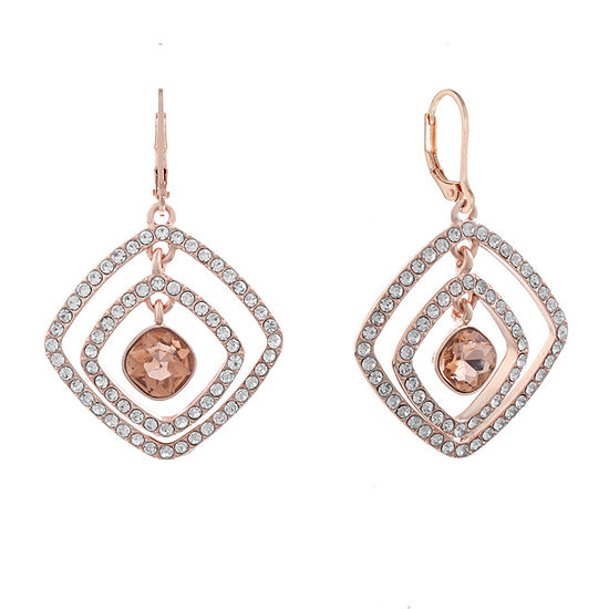 Monet Jewelry Simulated Orange Square Drop Earrings