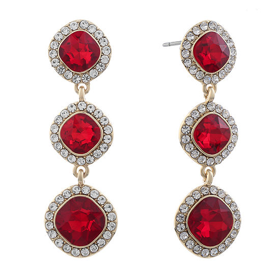 Monet Jewelry Simulated Red Square Drop Earrings