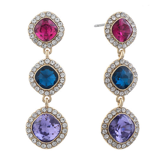 Monet Jewelry Simulated Multi Color Square Drop Earrings
