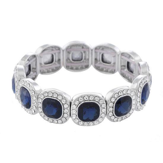 Monet Jewelry Simulated Blue Square Stretch Bracelet