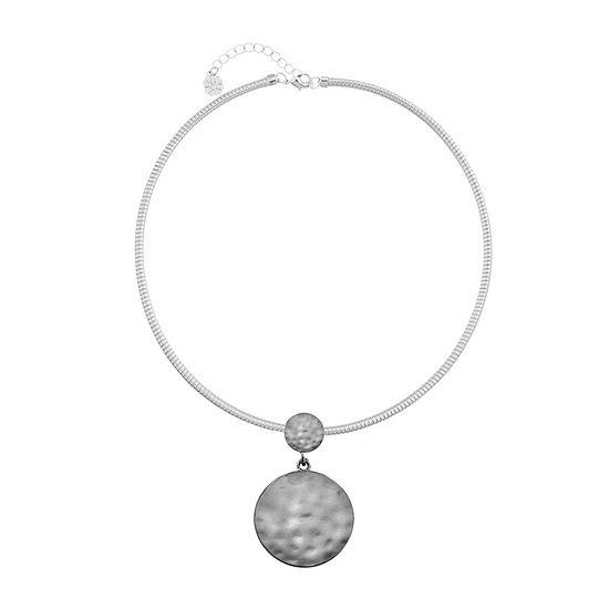 Liz Claiborne 17 Inch Omega Round Pendant Necklace