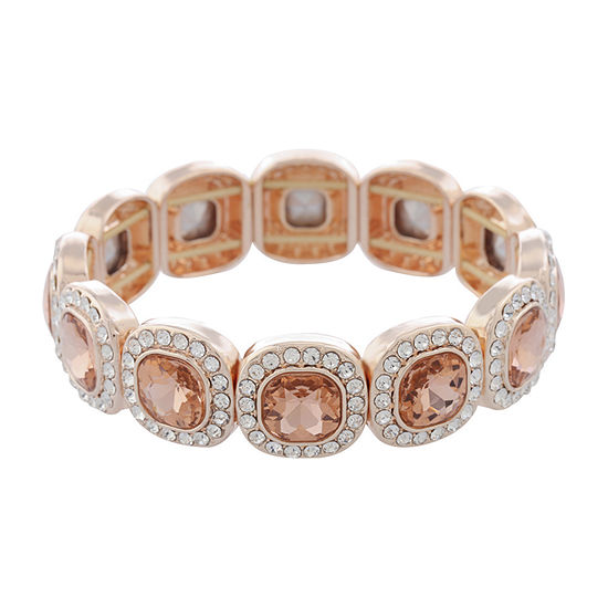 Monet Jewelry Simulated Orange Square Stretch Bracelet