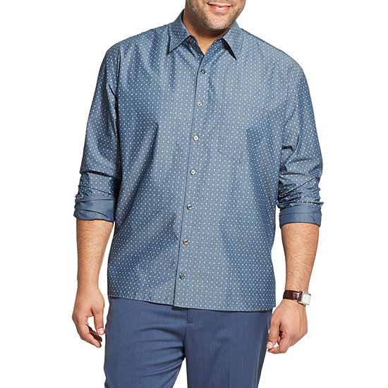 Van Heusen Big and Tall Mens Long Sleeve Diamond Button-Front Shirt