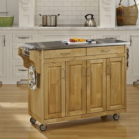 Home Styles Stainless Steel-Top Kitchen Cart