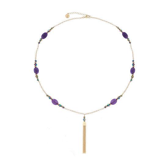 Liz Claiborne Purple 30 Inch Cable Round Pendant Necklace