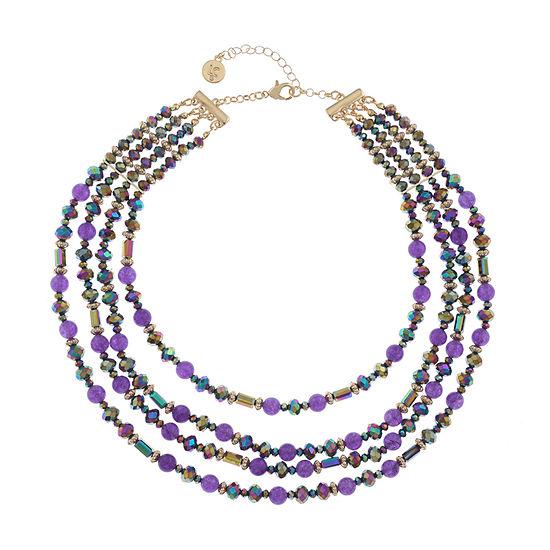Liz Claiborne Purple 17 Inch Cable Round Collar Necklace