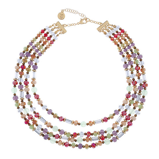 Liz Claiborne Womens Multi Color Round Collar Necklace