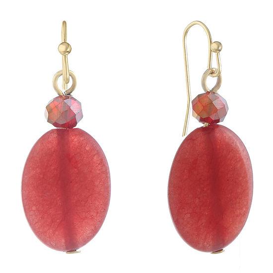 Liz Claiborne Red Oval Drop Earrings