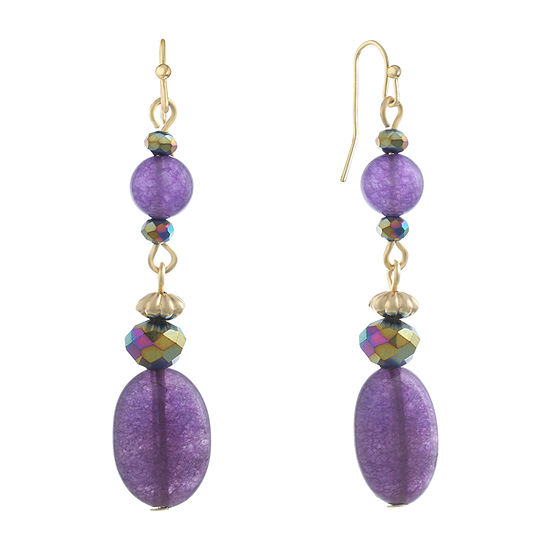 Liz Claiborne Purple Oval Drop Earrings