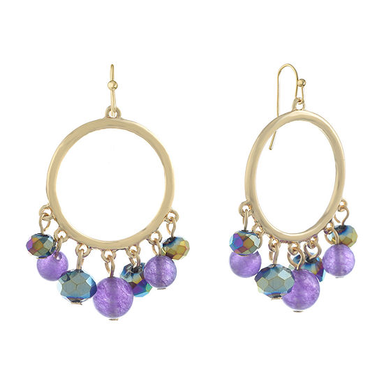 Liz Claiborne Purple Round Hoop Earrings