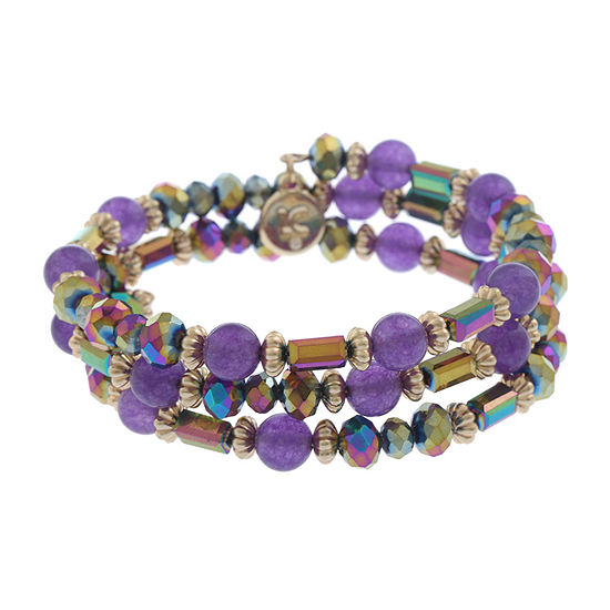 Liz Claiborne Purple Round Stretch Bracelet