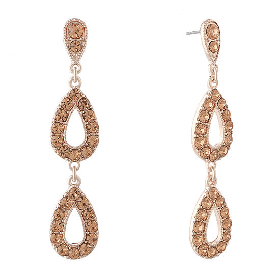Monet Jewelry Simulated Orange Round Drop Earrings