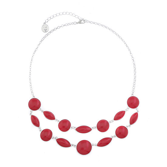 Liz Claiborne Womens Simulated Red Collar Necklace
