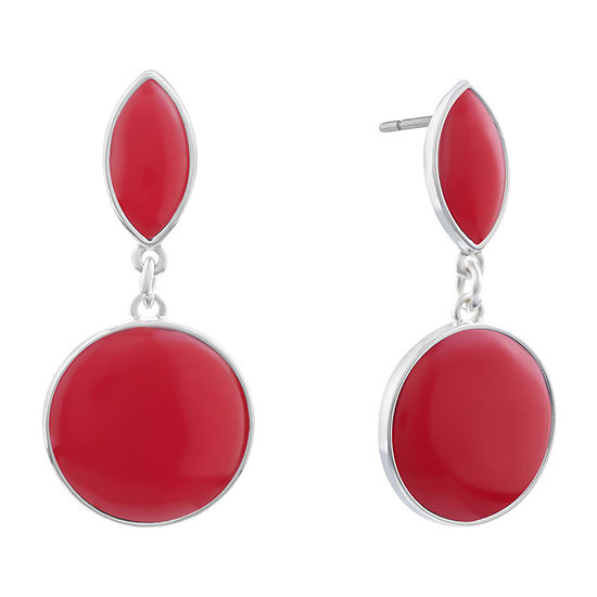 Liz Claiborne Simulated Red Drop Earrings