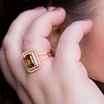 Inspired By You Plus_Size Womens Simulated Multi Color Tourmaline 14K Rose Gold Over Silver Cocktail Ring