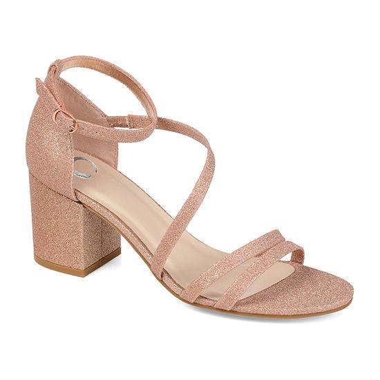 Journee Collection Womens Bella Buckle Open Toe Block Heel Pumps
