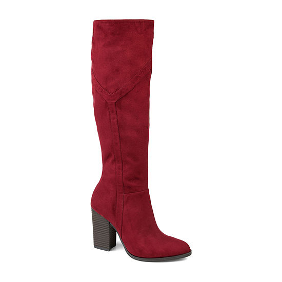 Journee Collection Womens Kyllie Extra Wide Calf Stacked Heel Dress Boots
