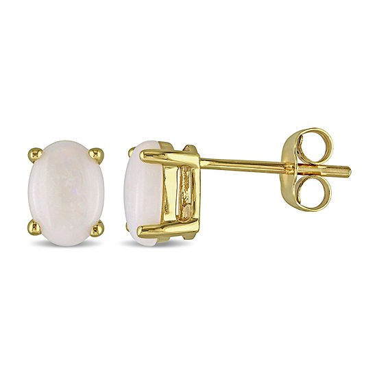 Genuine White Opal 10K Gold 7.2mm Stud Earrings
