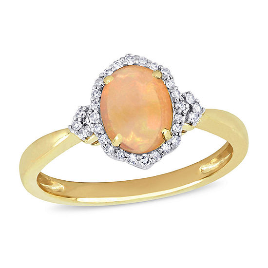 Womens 1/8 CT. T.W. Genuine Yellow Opal 10K Gold Halo Cocktail Ring