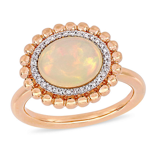 Womens 1/10 CT. T.W. Genuine White Opal 14K Rose Gold Halo Cocktail Ring