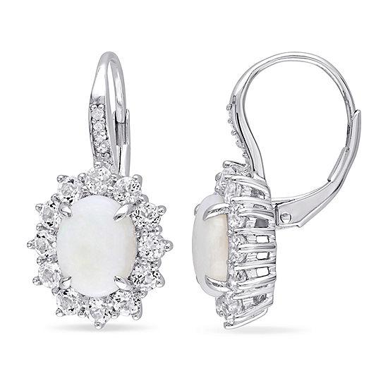 Diamond Accent Genuine White Opal Sterling Silver Drop Earrings