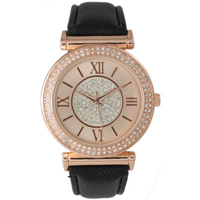 Olivia Pratt Womens Rose Gold Tone Crystal Accent Black Leather Strap Watch 14396