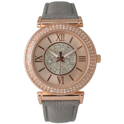 Olivia Pratt Womens Rose Gold Tone Crystal Accent Grey Leather Strap Watch 14396