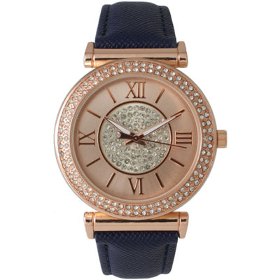 Olivia Pratt Womens Rose Gold Tone Crystal Accent Navy Leather Strap Watch 14396