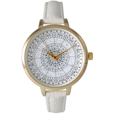 Olivia Pratt Womens White And Gold Tone Leather Strap Watch 14644