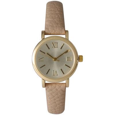 Olivia Pratt Womens Tan And Gold Tone Leather Strap Watch 14710