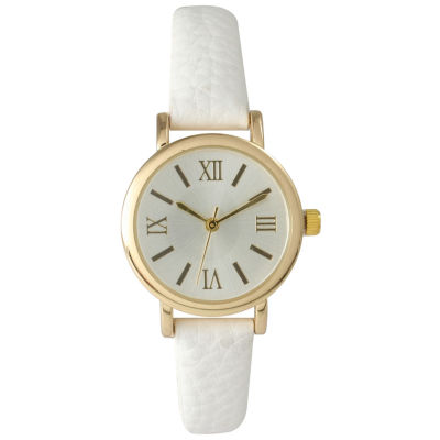 Olivia Pratt Womens White Gold Tone Leather Strap Watch 14710