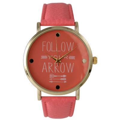 "Olivia Pratt Womens ""Follow Your Arrow"" Gold Tone Coral Leather Strap Watch 14721"