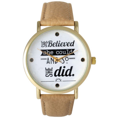 "Olivia Pratt Womens ""She Believed She Could"" Gold Tone Beige Leather Strap Watch 14722"