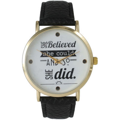 "Olivia Pratt Womens ""She Believed She Could"" Gold Tone Black Leather Strap Watch 14722"