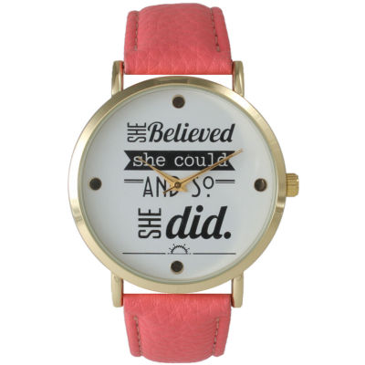 """Olivia Pratt Womens """"She Believed She Could"""" Gold Tone Coral Leather Strap Watch 14722"""