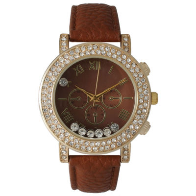 Olivia Pratt Womens Brown Crystal Accent Leather Strap Watch 14798