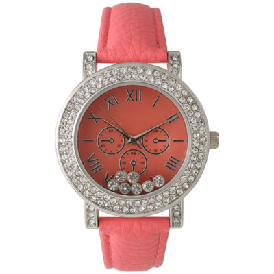 Olivia Pratt Womens Coral Crystal Accent Leather Strap Watch 14798