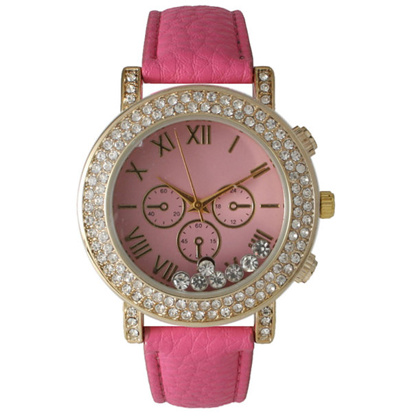 Olivia Pratt Womens Hot Pink Crystal Accent Leather Strap Watch 14798