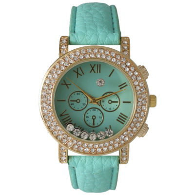 Olivia Pratt Womens Mint Green Crystal Accent Leather Strap Watch 14798