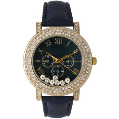 Olivia Pratt Womens Navy Crystal Accent Leather Strap Watch 14798