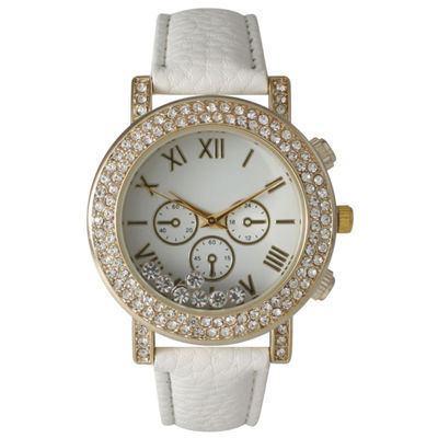 Olivia Pratt Womens White Crystal Accent Leather Strap Watch 14798
