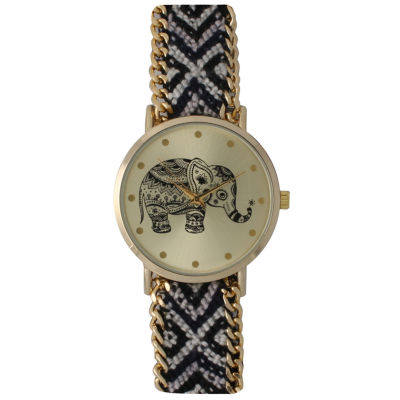 Olivia Pratt Womens Black Braided Elephant Print Dial Strap Watch 14811