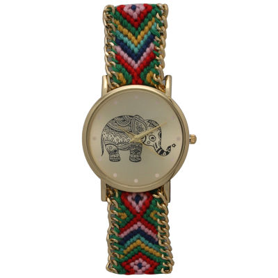 Olivia Pratt Womens Green Braided Elephant Print Dial Strap Watch 14811
