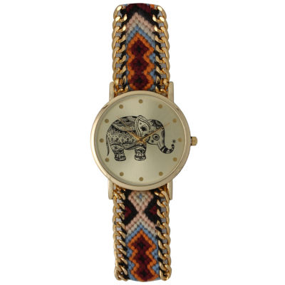 Olivia Pratt Womens Orange Braided Elephant Print Dial Strap Watch 14811