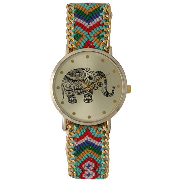 Olivia Pratt Womens Mint Braided Elephant Print Dial Strap Watch 14811