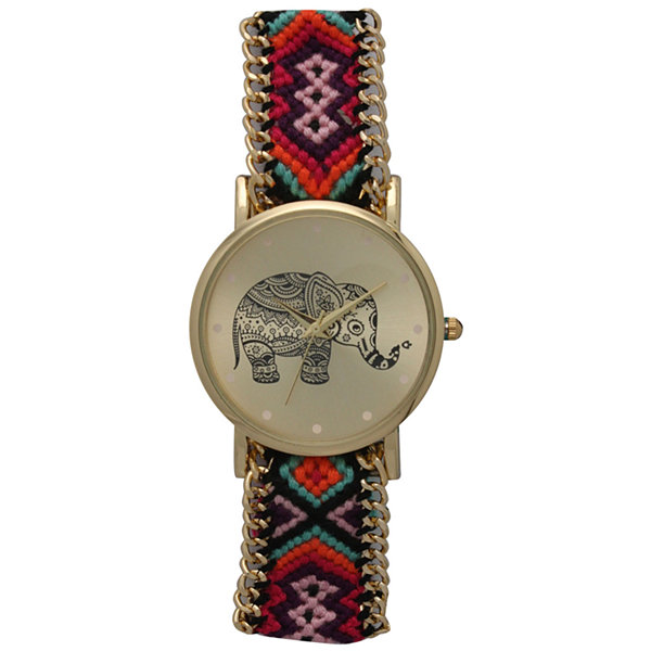 Olivia Pratt Womens Pink And Orange Braided Elephant Print Dial Strap Watch 14811