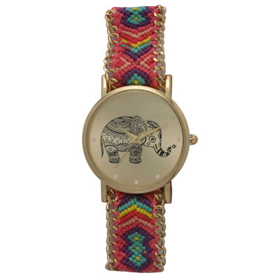 Olivia Pratt Womens Pink And Purple Braided Elephant Print Dial Strap Watch 14811