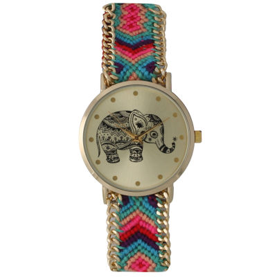 Olivia Pratt Womens Multicolor Braided Elephant Print Dial Strap Watch 14811