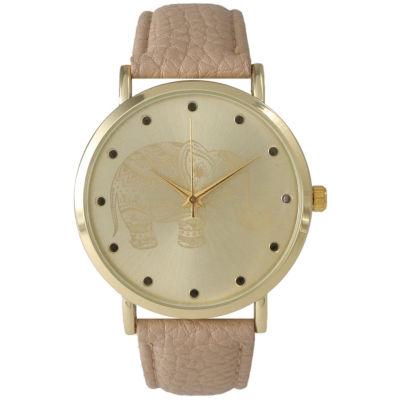 Olivia Pratt Womens Tan Elephant Print Dial Leather Strap Watch 14813